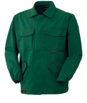 Giubbetto ignifugo, chiusura con bottoni coperti, collo chiuso, due tasche e due taschini, colore verde. Certificato CE, EN 11611, EN 11612: 2009, giacca ignifuga