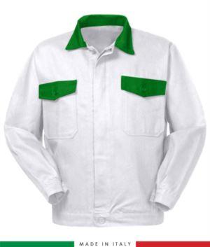 Giubbino da lavoro bicolore, Made in Italy. Due tasche sul petto. Possibilità di personalizzazione. Colore Bianco/Verde brillante