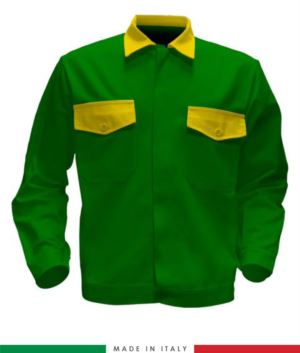 Giubbino da lavoro bicolore, Made in Italy. Due tasche sul petto. Possibilità di produzione personalizzata. Colore Verde Brillante/Giallo
