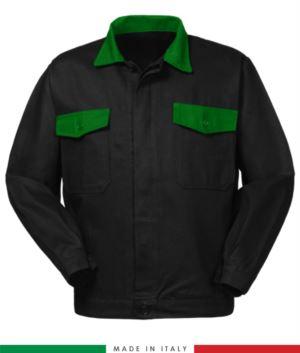 Giubbino da lavoro bicolore, Made in Italy. Due tasche sul petto. Possibilità di produzione personalizzata. Colore Nero/Verde Brillante