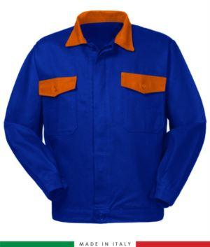 Giubbino da lavoro bicolore, Made in Italy. Due tasche sul petto. Possibilità di produzione personalizzata. Colore Azzurro Royal/Arancione