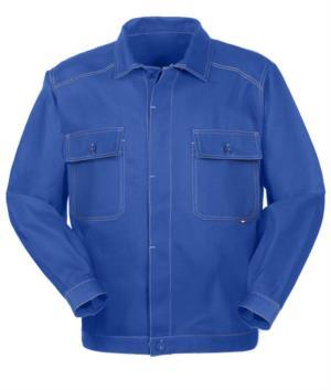 Giubbino da lavoro in cotone irrestringibile con tasche. Colore Azzurro Royal