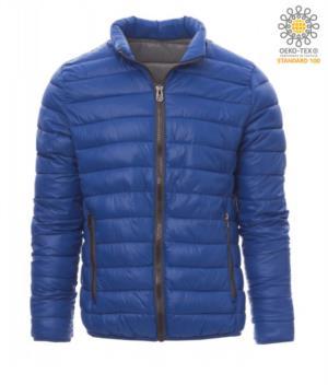 Giubbetto imbottito in nylon con imbottitura effetto piuma, interno e finiture in contrasto. Colore: Azzurro Royal e Grigio