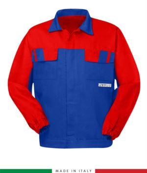 Giubbino pentavalente bicolore, chiusura con bottoni coperti, polsini a elastico, due tasche sul petto, Made in Italy, colore azzurro royal/rosso, giubbino arco elettrico