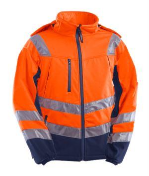 Giubbino softshell 3 strati alta visibilità bicolore, impermeabile e traspirante, cappuccio staccabile, bande alla vita e sulle maniche, certificata EN 343:2008, EN 20471:2013. Colore Arancione/Blu