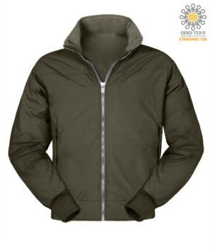 Giubbino imbottito in nylon, chiusura a cerniera, colore verde