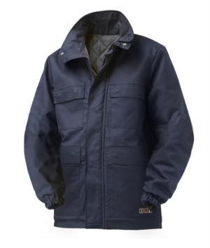 Giubbotto trivalente multi pro, con imbottitura interna, chiusura con cerniera coperta e bottini, elastico ai polsi, certificato EN 11611, EN 1149-5, EN 13034, EN 11612: 2009, colore blu