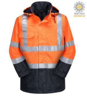 High visibility two-tone multipro jacket, double direction zip, concealed and detachable hood, contrast stitching, double band on waist and sleeves, certified EN 343:2008, GO-RT 3279, UNI EN 20471:2013, EN 1149-5, EN 13034, UNI EN ISO 14116:2008, color orange/blue