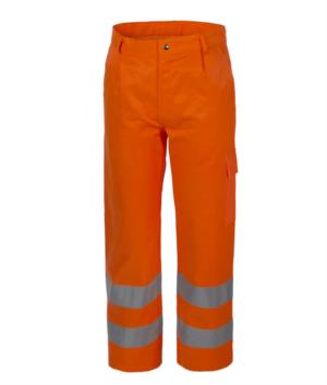 High visibility trousers, multi-pocket, double reflective band at the bottom of the leg, certified EN 20471, color orange