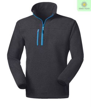 Knitted fleece short zip fleece with one zipped breast pocket and contrasting zip. Colour: blue