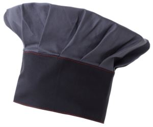 Chef hat, double band of fabric, upper part inserted and stitched in pleats, colour grey blue