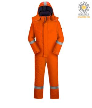 Upholstered anti-flame and antistatic winter jumpsuit, multi-pockets, reflective bands on the bottom of the leg, sleeves and hood, detachable hood, kneepad pockets, certified EN 11611, EN 342:2004, EN 1149-5, EN 11612:2009, colour orange