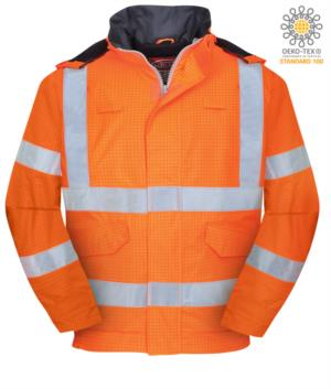 Bomber waterproof antistatic, fireproof and acid-proof, concealed hood, double reflective band on waist and sleeves, certified EN 343:2008, UNI EN 20741:2013, EN 1149-5, EN 13034, UNI EN ISO 14116:2008, color orange