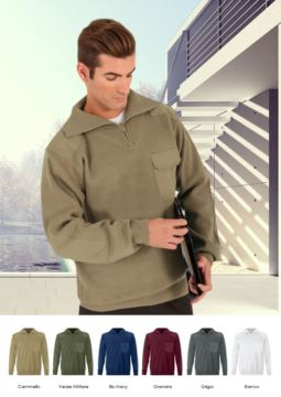 Men high neck sweater, short zip, shoulder and elbow patches, flap pocket, 100% acrylic fabric
