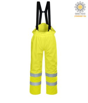 Antistatic trousers, fireproof, high visibility, adjustable straps with adjustable buckle, double band on the bottom of the leg, certified EN 343:2008, UNI EN 20741:2013, EN 1149-5, EN 13034, UNI EN ISO 14116:2008, color yellow