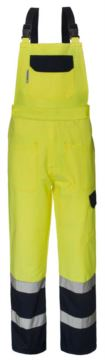 Two-tone high visibility bibs, with central pocket on the bib, adjustable shoulder straps, double band at the bottom of the leg, certified EN 20471, colour yellow and blue.