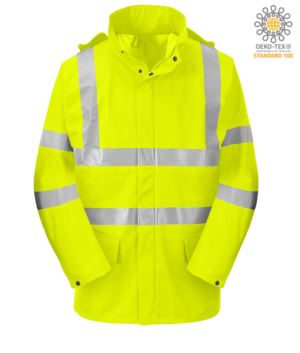 High visibility fireproof jacket, zip with double slider, adjustable cuffs with buttons, double band on waist and sleeves, concealed hood, certified EN 343:2008, UNI EN 20741:2013, EN 1149-5, EN 13034, UNI EN ISO 14116:2008, color yellow
