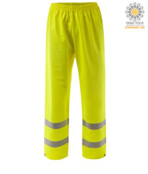 High visibility fireproof trousers, adjustable bottom with button, double band at the bottom of the leg, elasticated waist, certified EN 343:2008, UNI EN 20471:2013, EN 1149-5, EN 13034, UNI EN ISO 14116:2008, colour yellow
