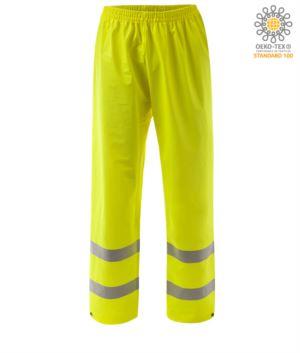 High visibility fireproof trousers, adjustable bottom with button, double band at the bottom of the leg, elasticated waist, certified EN 343:2008, UNI EN 20471:2013, EN 1149-5, EN 13034, UNI EN ISO 14116:2008, colour yellow