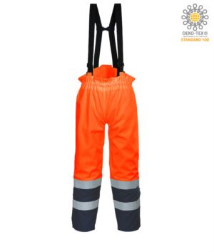 Antistatic, high visibility fireproof trousers, adjustable shoulder straps with buckle, double band on the bottom of the leg, two-tone, certified EN 343:2008, UNI EN 20471:2013, EN 1149-5, EN 13034, UNI EN ISO 14116:2008, colour orange