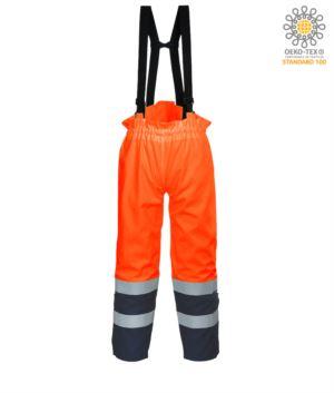 Antistatic, high visibility fireproof trousers, adjustable shoulder straps with buckle, double band on the bottom of the leg, two-tone, certified EN 343:2008, UNI EN 20471:2013, EN 1149-5, EN 13034, UNI EN ISO 14116:2008, colour orange