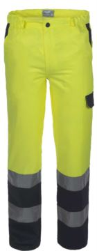 Two-tone high visibility trousers with double band on the bottom of the leg, certified EN 20471,color yellow/blue