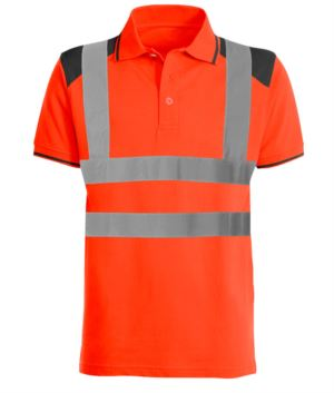 Two- tone high visibility polo shirt with reflective bands cotrasting details o the shoulders, collar and bottom sleeve. EN 20471 certified. Colour orange