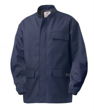 Multipro jacket, elastic at the wrists, covered zip fastening, two pockets and one on the pocket, Korean collar, blue colour, certified EN 11611, EN 1149-5, EN 13034, CEI EN 61482-1-2:2008, EN 11612:2009