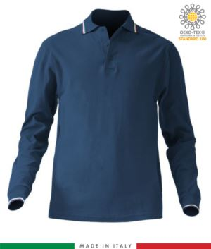 Long sleeved tricolour pique polo shirt, side vents, three matching buttons, made in Italy, colour navy blue