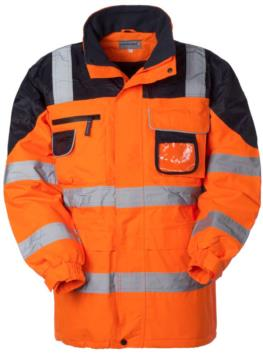 High visibility jacket, zip and covered buttons closure, badge holder, concealed hood, double band on sleeves, waist, vertical and rear, certified EN 343, EN 20471. Colour Orange