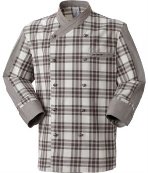 Chef jacket, double-breasted front button closure, left side pocket, three-quarter length sleeve, colour check brown