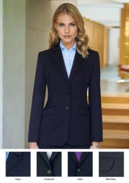 Women's jacket for elegant work uniform, polyester and wool fabric.