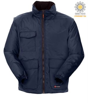 Multi pocket ripstop jacket with detachable sleeves, with hood. Colour Blue