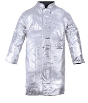 Unlined apron, heat-protected with molten metal splashes, silver colour, certified EN 11612:2009