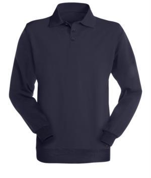 Long-sleeved polo shirt, multi norm, three buttons, blue colour; certified EN 1149-5, EN 1149-5, EN 11612:2009, EN 531:97