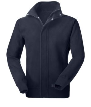 Long multipro zip fleece with zip closure and covered buttons, elasticated cuffs, blue colour, certified EN 1149-5, EN 11612:2009, EN ISO 340:2004