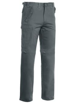 Multi pocket work trousers, shortenable to Bermuda shorts. Colour Grey