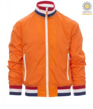 Unpadded jacket in nylon with drytech fabric; collar, cuffs and waist in rib with flag colours. Colour Orange with Holland flag