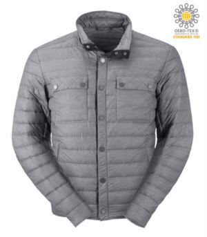 Lightweight down jacket with fit, soft, windproof and water-repellent fabric; press stud and contrast button closure. Colour: Grey and black