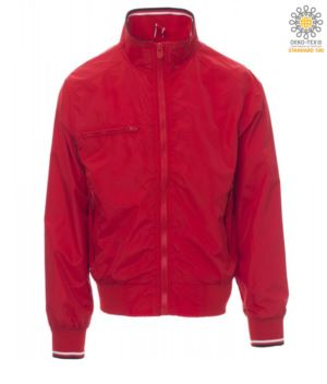 Unlined jacket in nylon, collar, cuffs and waist in elasticated rib with black and white coloured profiles. Zippered breast pocket. Color Red