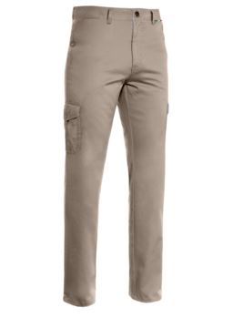 Lightweight multi pocket trousers, lined with striped fabric. Colour Taupe