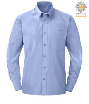 men long sleeved shirt in Oxford Blue polyester and cotton