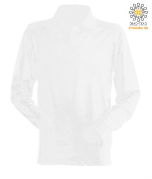 Long sleeved polo shirt 100% combed cotton, color white