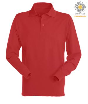 Long sleeved polo shirt 100% combed cotton, color red