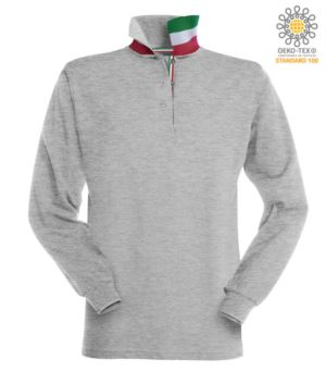 Long sleeved polo shirt with tricolour elements on the collar and the slit. Colour grey