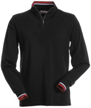 Long sleeve polo shirt, with half zip closure, coloured profile on the inside, collar and sleeve edge. Black colour