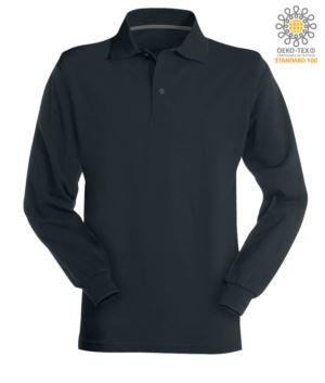 Long sleeved navy blue cotton piquet polo shirt