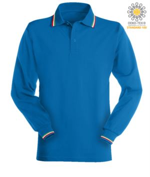 Long sleeved polo shirt with italian tricolour profile on collar and cuffs. royal blue colour