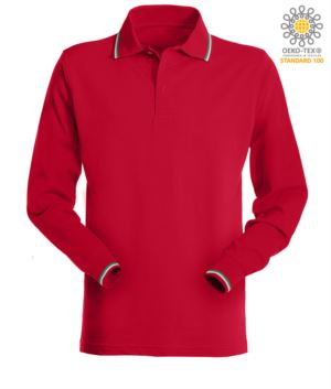 Long sleeved polo shirt with italian tricolour profile on collar and cuffs. red colour