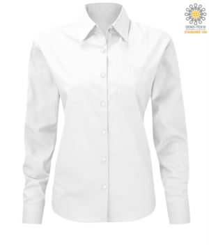 women long sleeved shirt for work uniform White color
